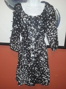 LC Lauren Conrad Sheer butterfly Dress 6 Black lig